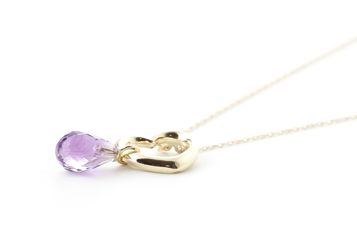 Pear Cut Amethyst Pendant Necklace 2.25ct in 9ct Gold