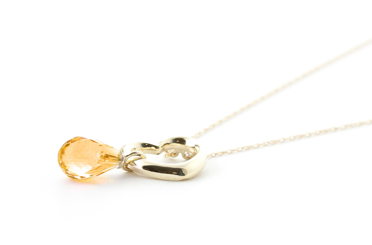 Pear Cut Citrine Pendant Necklace 2.25ct in 9ct Gold