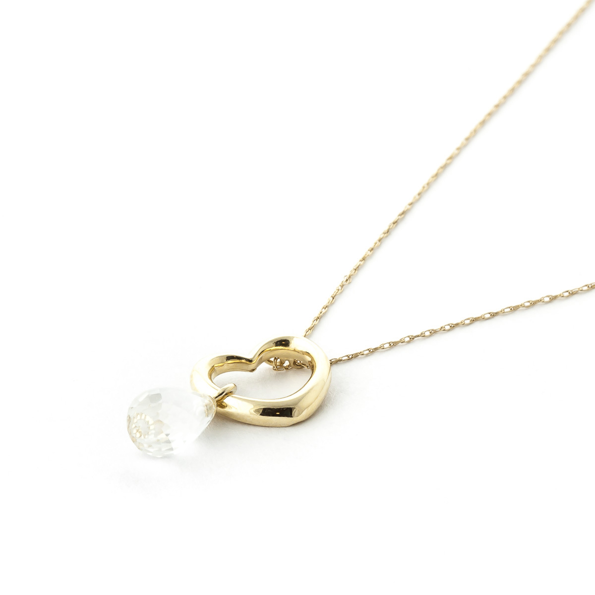 Pear Cut White Topaz Pendant Necklace 2.25ct in 9ct Gold