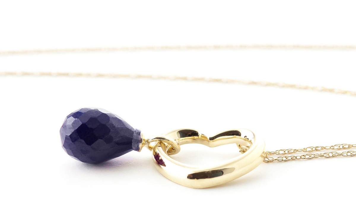 Pear Cut Sapphire Pendant Necklace 3.3ct in 9ct Gold