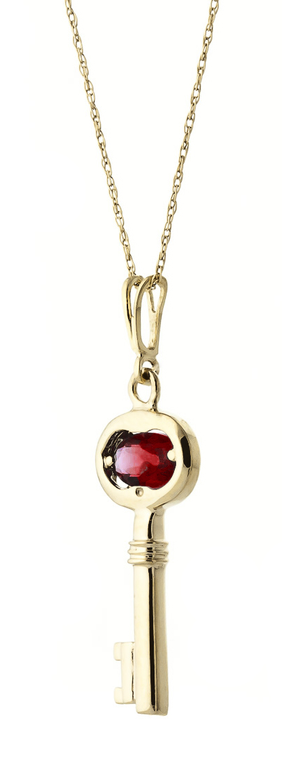 Garnet Key Charm Pendant Necklace 0.5ct in 9ct Gold