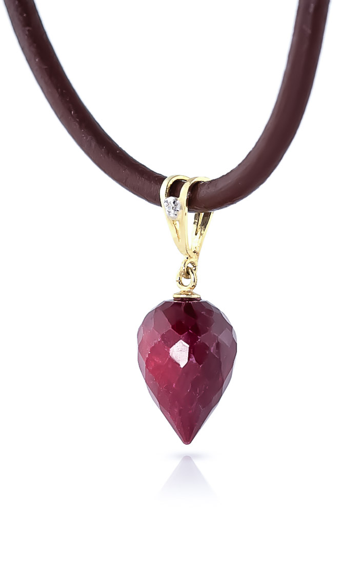 Ruby and Diamond Leather Pendant Necklace 13.0ct in 9ct Gold
