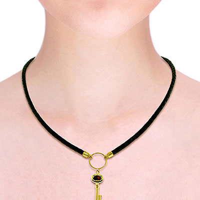 Garnet Key Charm Leather Pendant Necklace 0.5ct in 9ct Gold