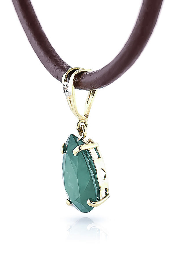 Emerald and Diamond Leather Pendant Necklace 3.5ct in 9ct Gold