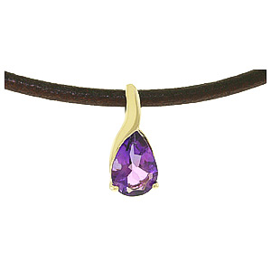 Pear Cut Amethyst Leather Pendant Necklace 4.7ct in 9ct Gold
