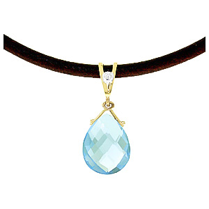 Blue Topaz and Diamond Leather Pendant Necklace 6.5ct in 9ct Gold