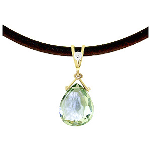 Green Amethyst and Diamond Leather Pendant Necklace 6.5ct in 9ct Gold