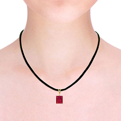 Ruby and Diamond Leather Pendant Necklace 6.5ct in 9ct Gold