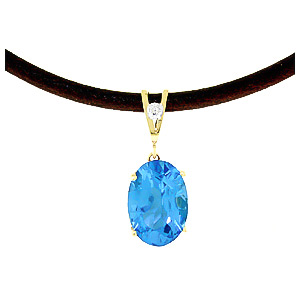 Blue Topaz and Diamond Leather Pendant Necklace 7.55ct in 9ct Gold