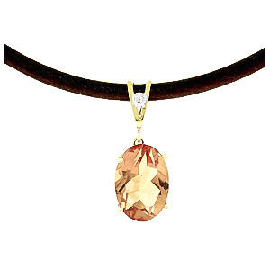 Citrine and Diamond Leather Pendant Necklace 7.55ct in 9ct Gold