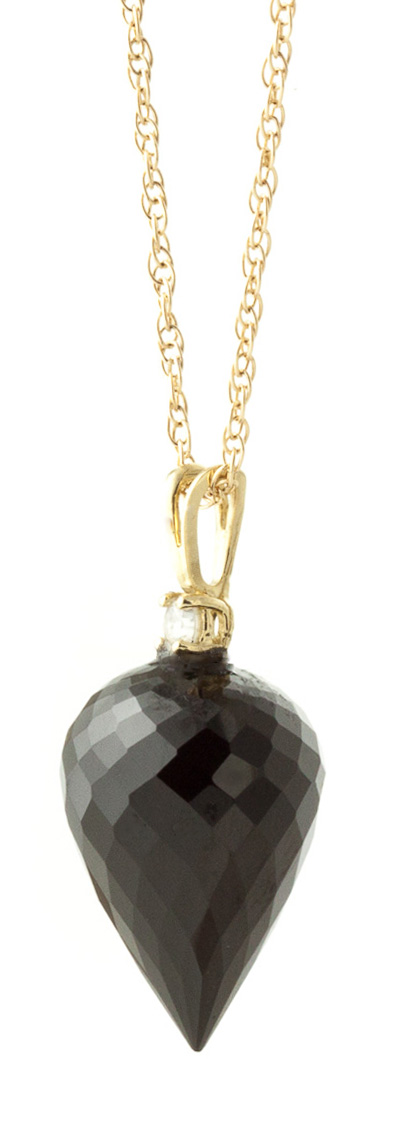 Black Spinel and Diamond Pendant Necklace 12.25ct in 9ct Gold