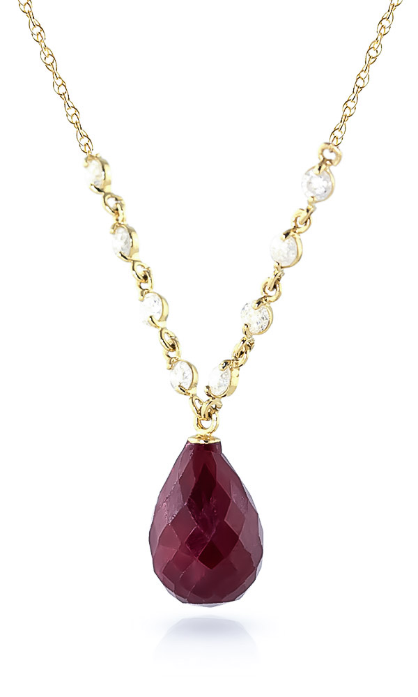 Ruby and Diamond Pendant Necklace 14.8ct in 9ct Gold
