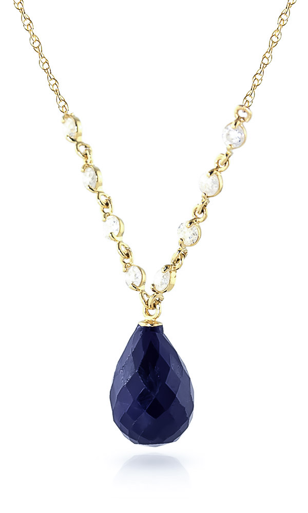 Sapphire and Diamond Pendant Necklace 14.8ct in 9ct Gold