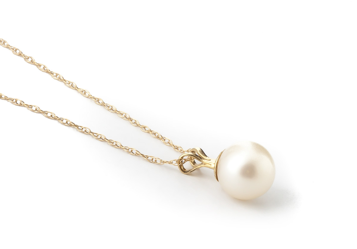 Round Brilliant Cut Pearl Pendant Necklace 2.0ct in 9ct Gold