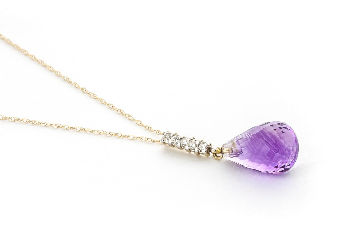 Amethyst and Diamond Pendant Necklace 5.0ct in 9ct Gold