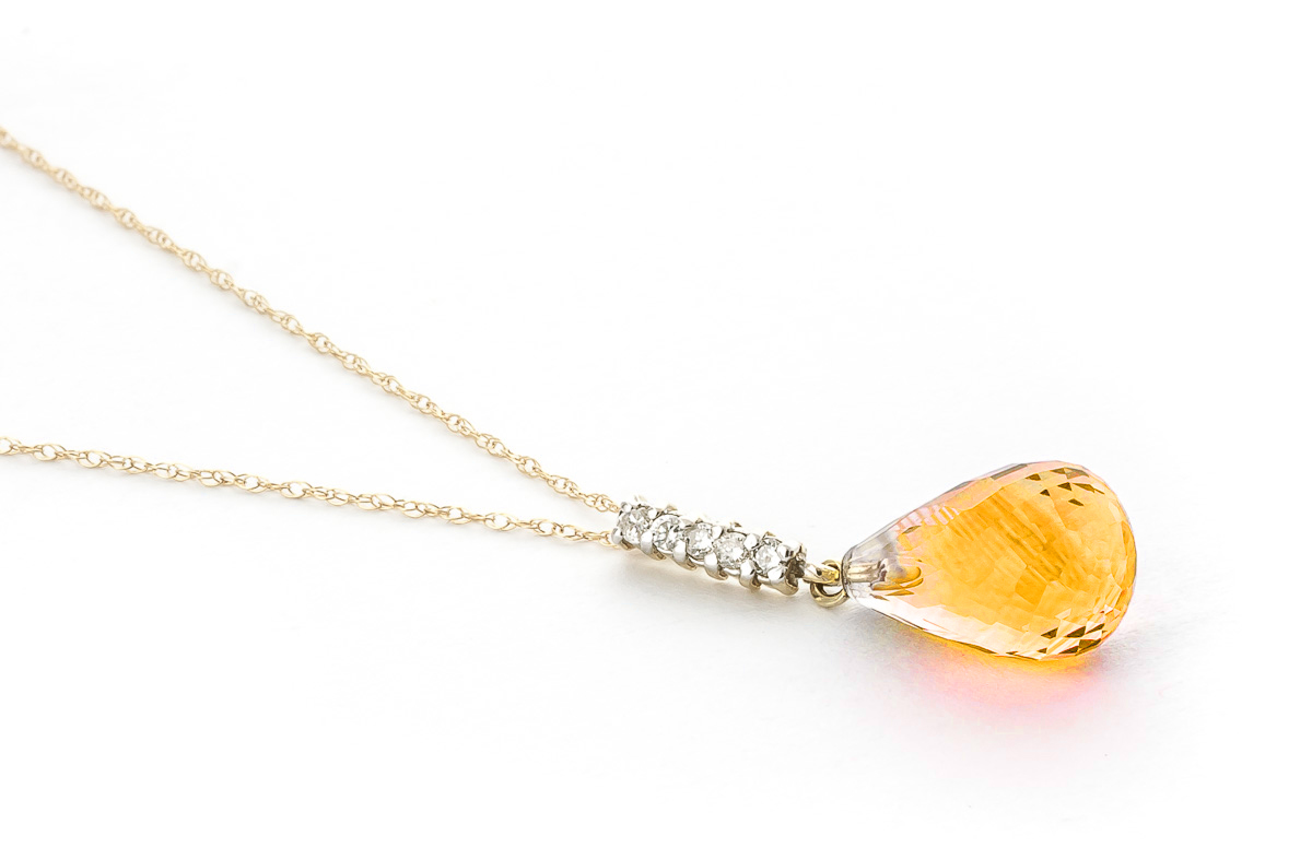 Citrine and Diamond Pendant Necklace 5.0ct in 9ct Gold