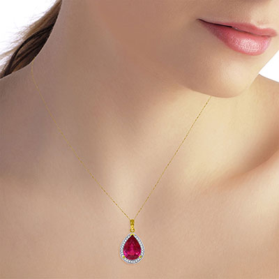 Ruby and Diamond Halo Pendant Necklace 5.35ct in 9ct Gold