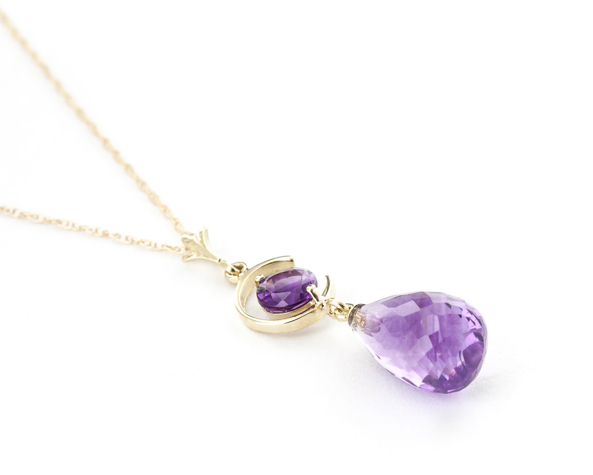 Amethyst Briolette Pendant Necklace 5.5ctw in 9ct Gold