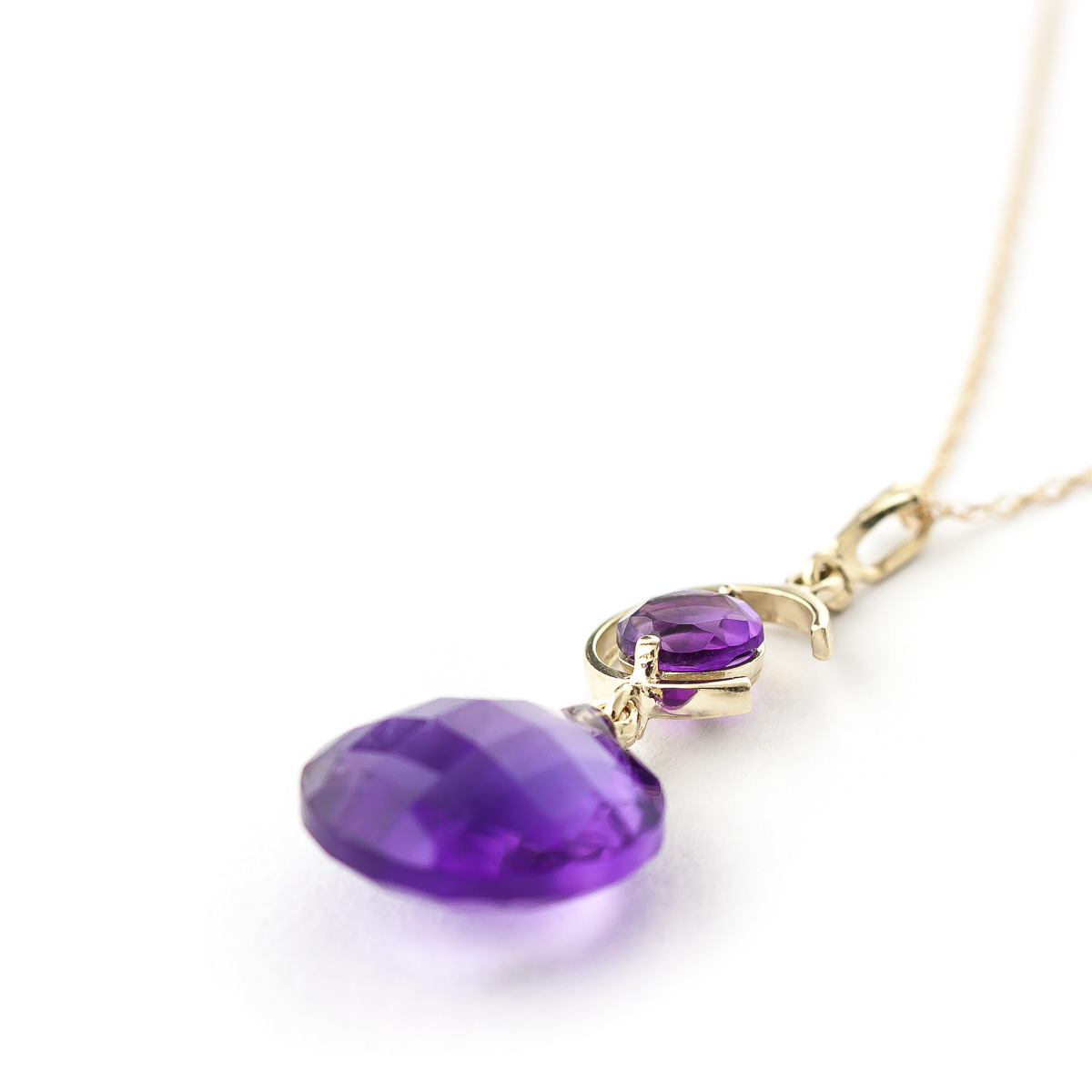 Round Brilliant Cut Amethyst Pendant Necklace 5.8ctw in 9ct Gold