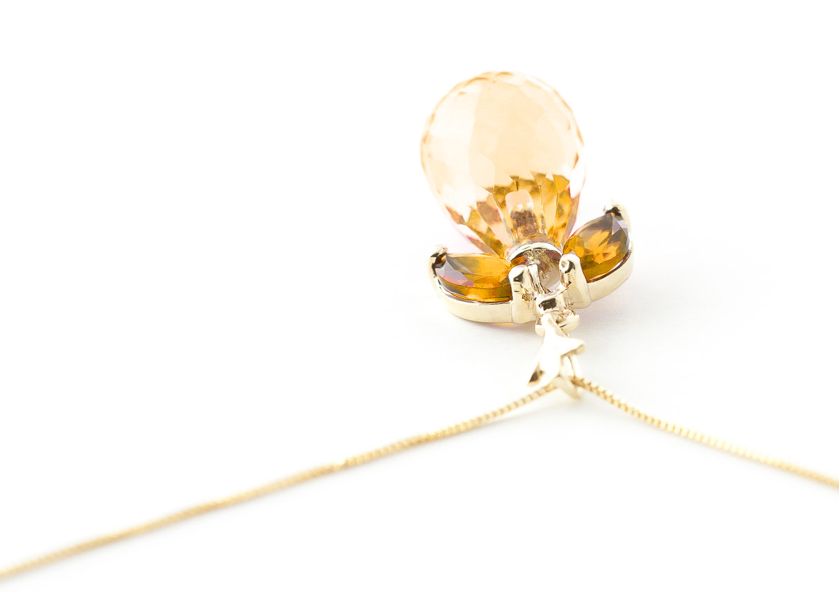 Citrine Briolette Pendant Necklace 7.2ctw in 9ct Gold