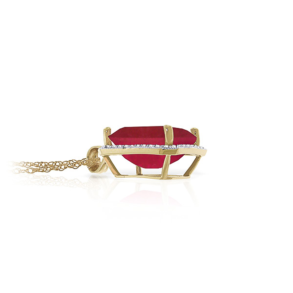 Ruby and Diamond Halo Pendant Necklace 7.25ct in 9ct Gold