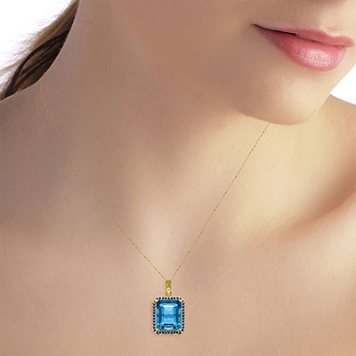Blue Topaz and Diamond Halo Pendant Necklace 7.6ct in 9ct Gold