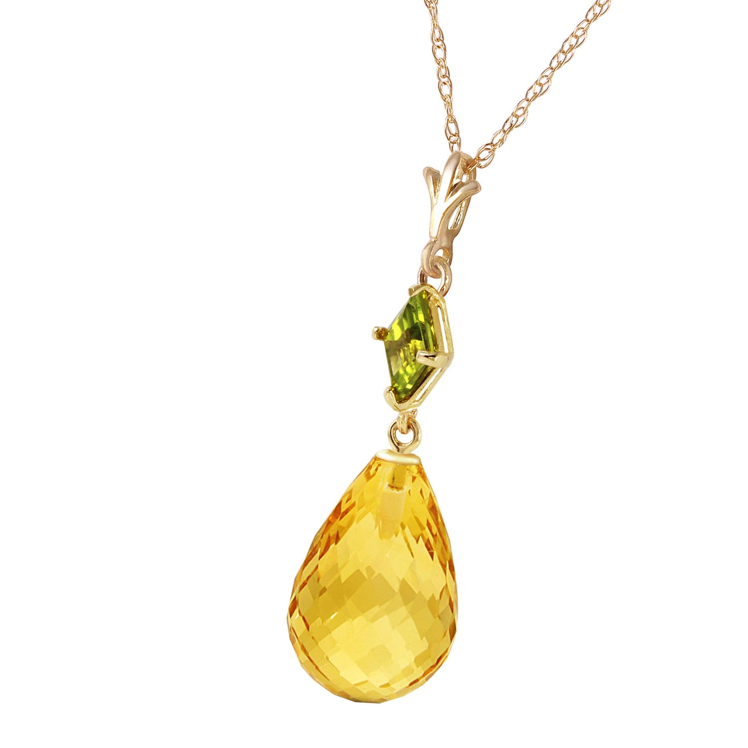 Citrine and Peridot Pendant Necklace 5.5ctw in 9ct Gold