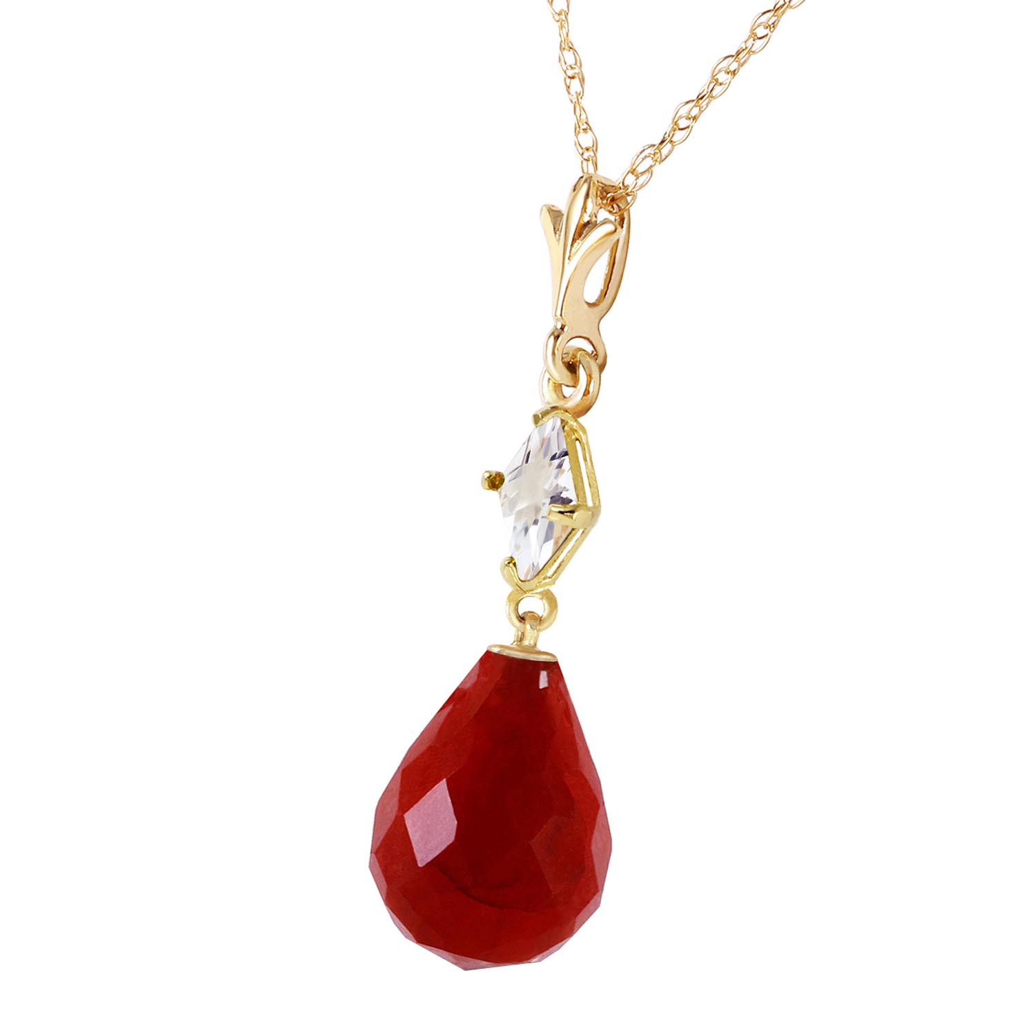 Ruby and White Topaz Pendant Necklace 9.3ctw in 9ct Gold
