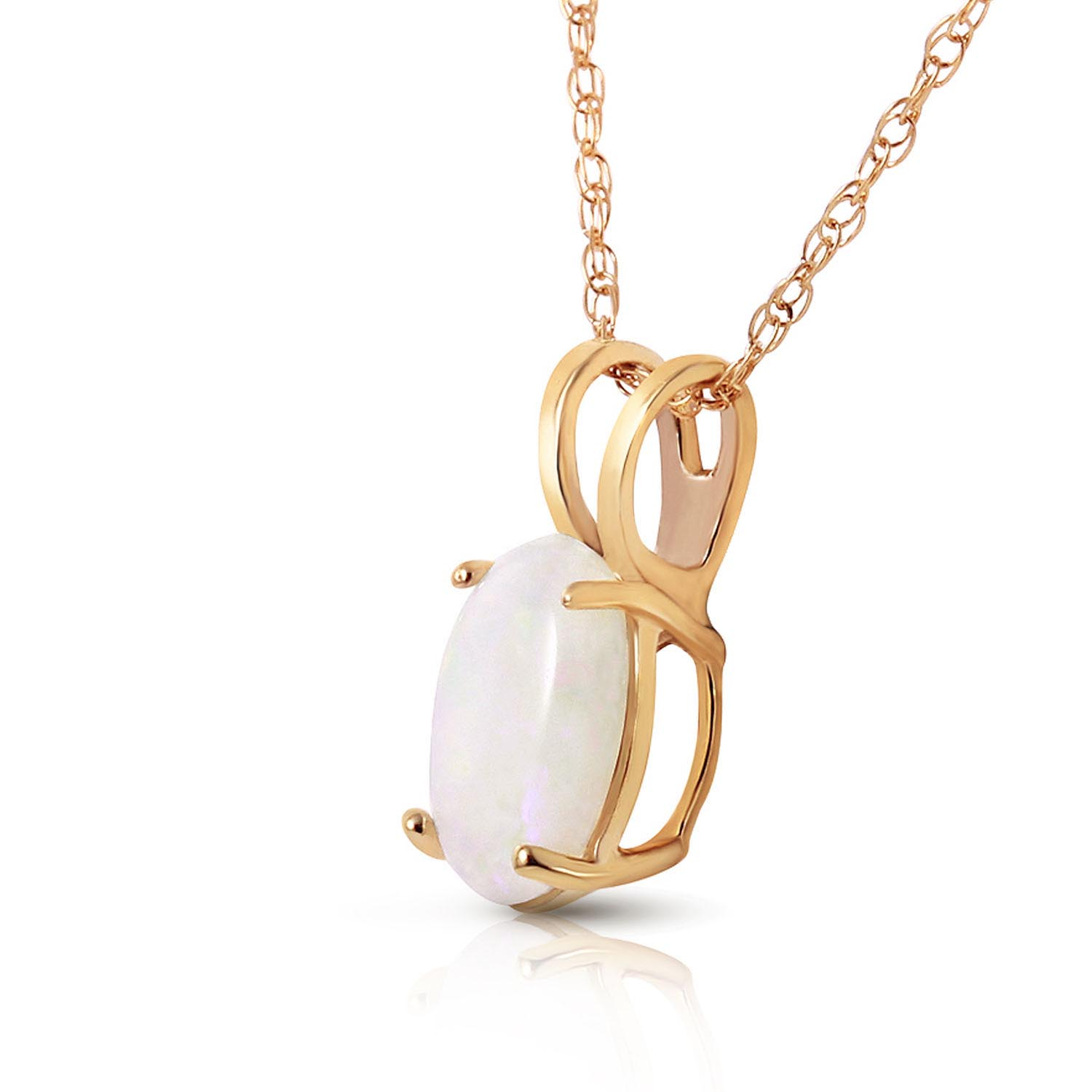 Oval Cut Opal Pendant Necklace 0.45ct in 9ct Gold