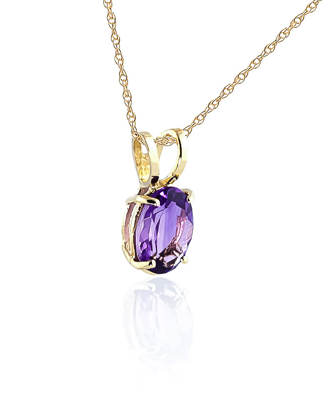 Oval Cut Amethyst Pendant Necklace 0.85ct in 9ct Gold