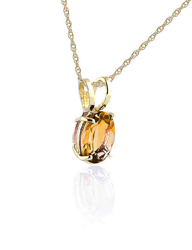 Oval Cut Citrine Pendant Necklace 0.85ct in 9ct Gold