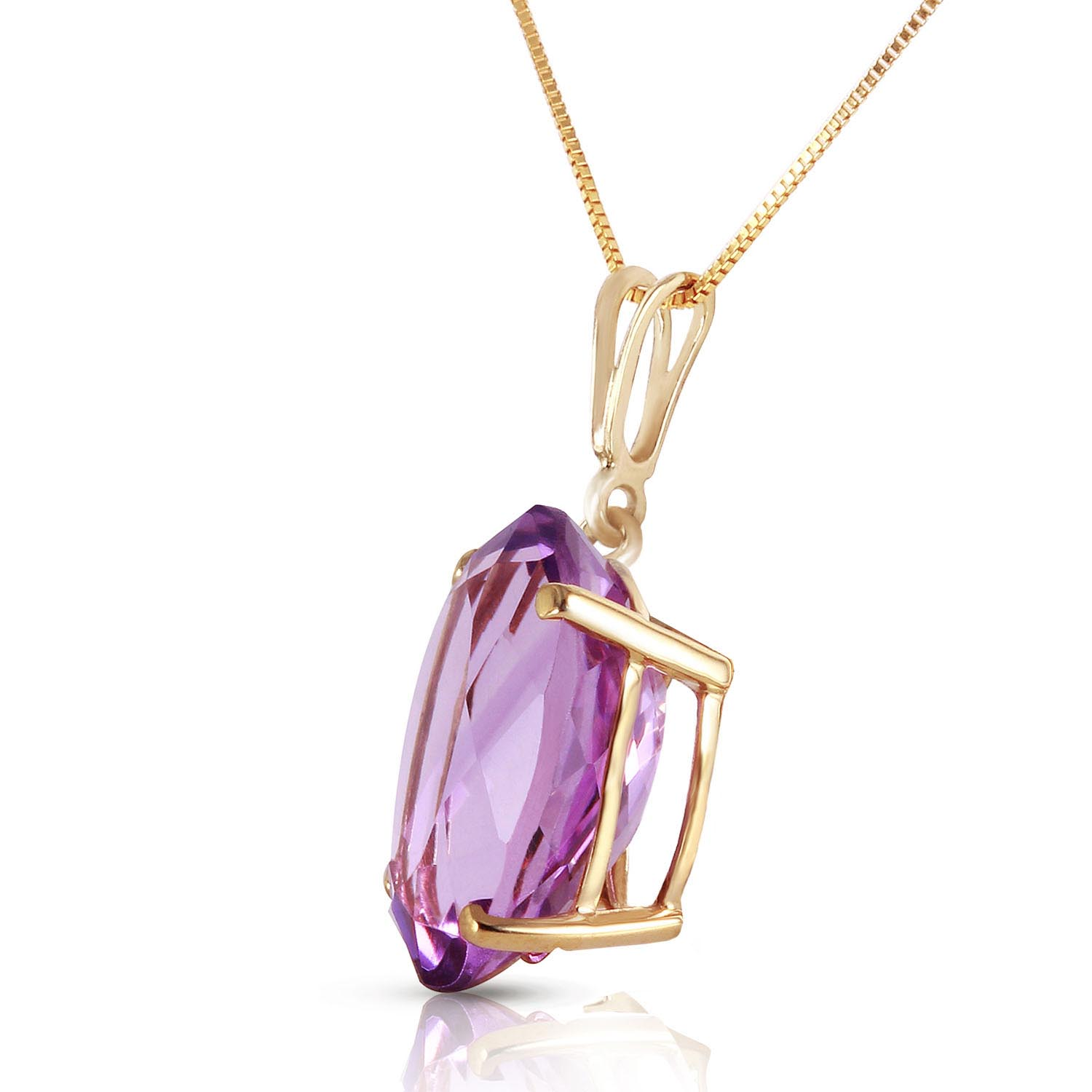 Oval Cut Amethyst Pendant Necklace 7.55ct in 9ct Gold