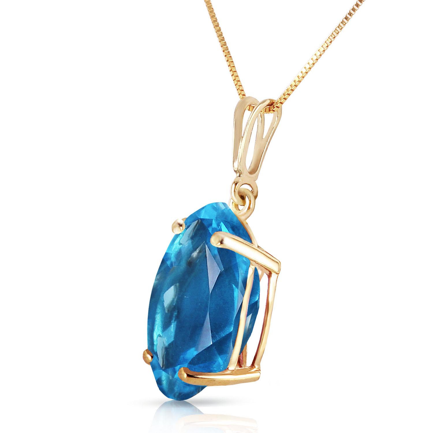 Oval Cut Blue Topaz Pendant Necklace 8.0ct in 9ct Gold