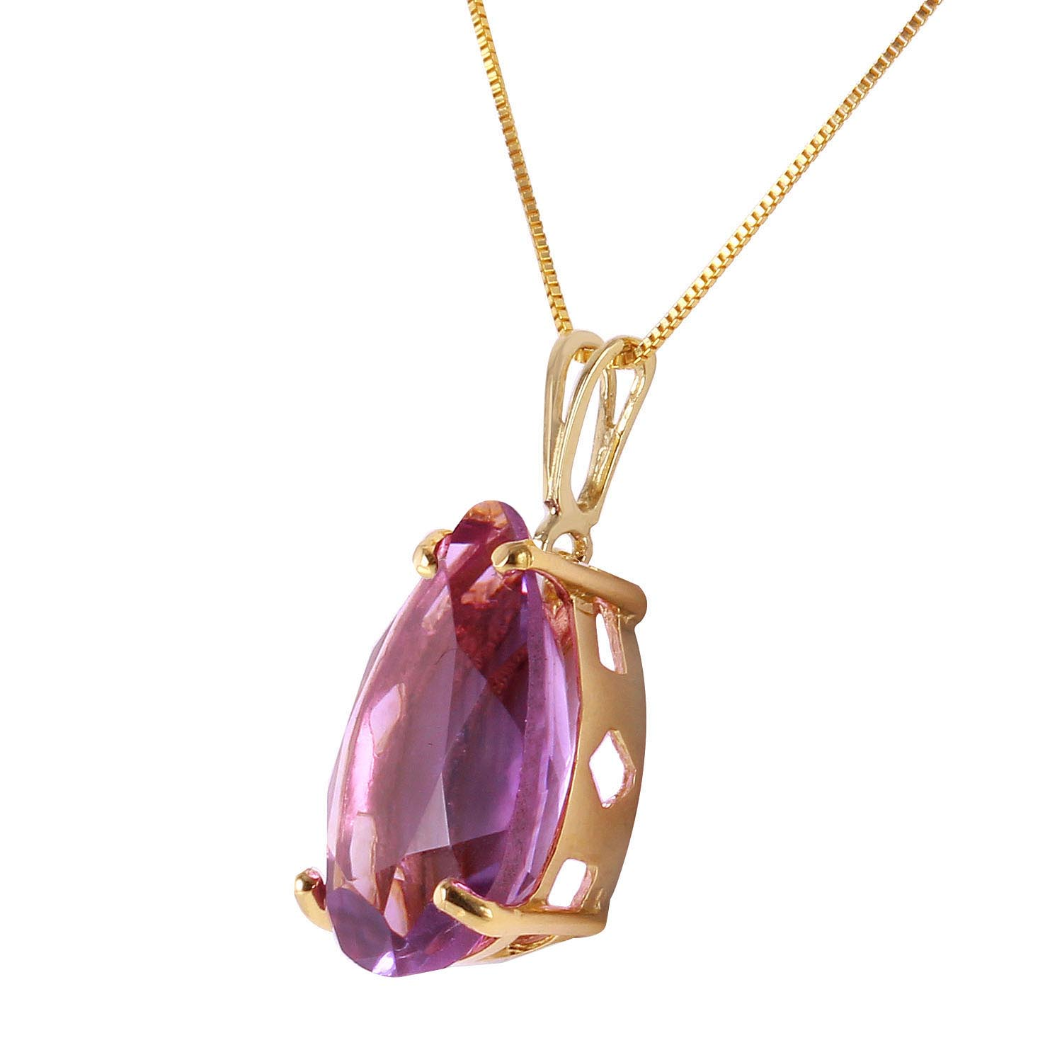 Pear Cut Amethyst Pendant Necklace 5.0ct in 9ct Gold