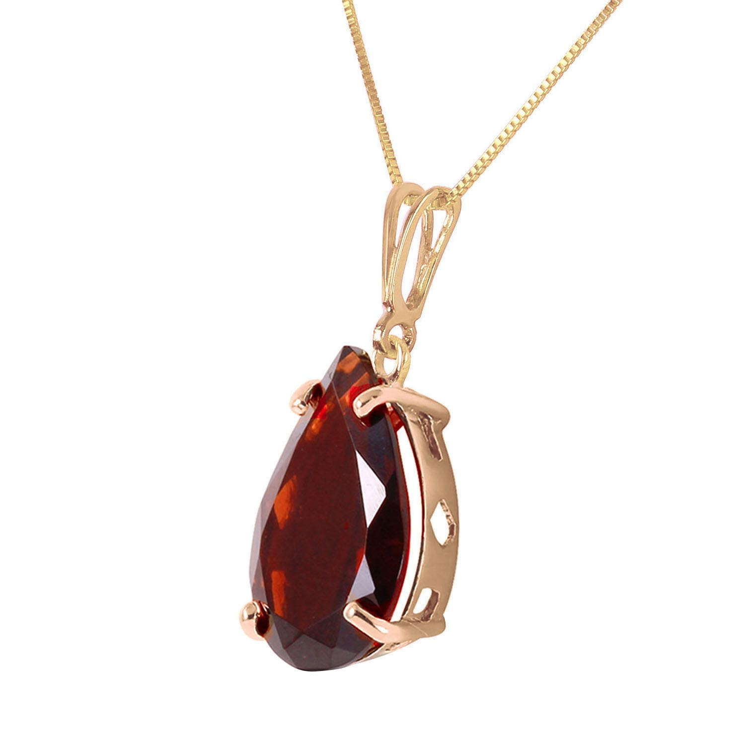 Pear Cut Garnet Pendant Necklace 5.0ct in 9ct Gold