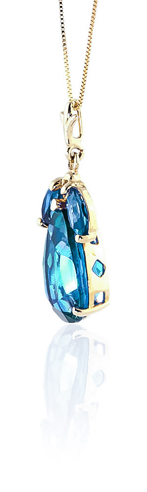 Pear Cut Blue Topaz Pendant Necklace 6.5ctw in 9ct Gold