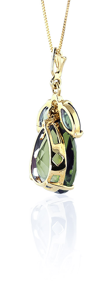 Pear Cut Green Amethyst Pendant Necklace 6.5ctw in 9ct Gold