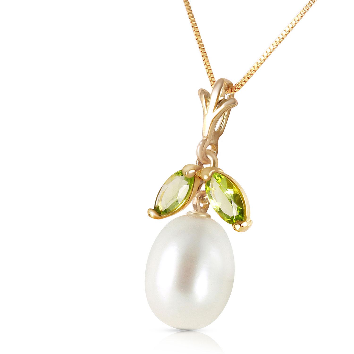 Pearl and Peridot Pendant Necklace 4.5ctw in 9ct Gold