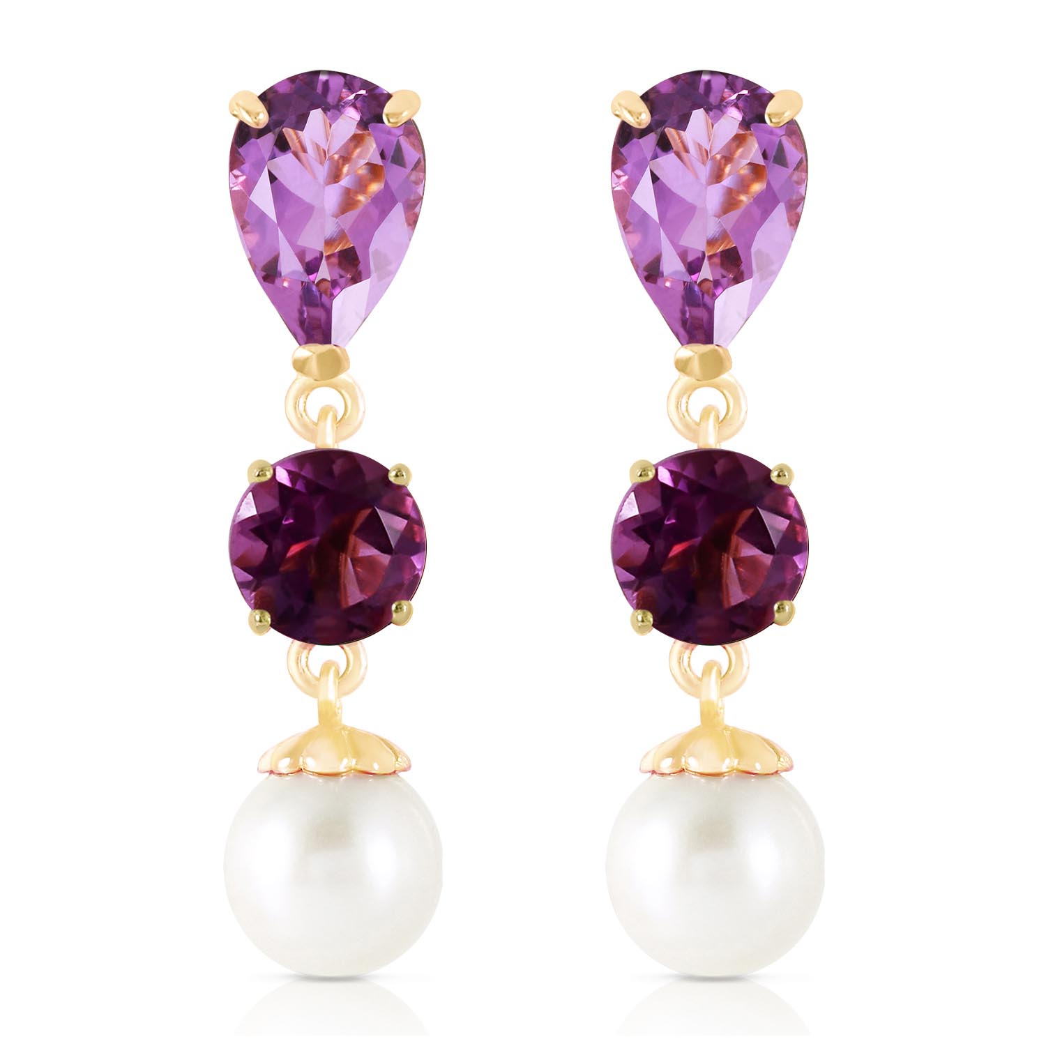 Amethyst and Pearl Droplet Earrings 10.5ctw in 9ct Gold
