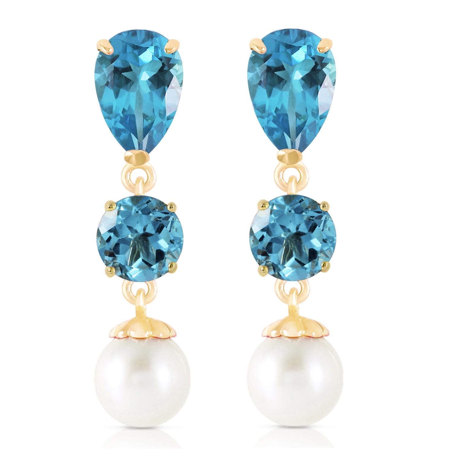 Blue Topaz and Pearl Droplet Earrings 10.5ctw in 9ct Gold