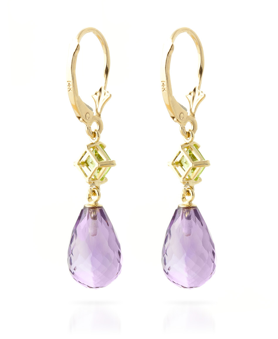Amethyst and Peridot Drop Earrings 11.0ctw in 9ct Gold