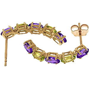 Amethyst and Peridot Linear Stud Earrings 2.5ctw in 9ct Gold