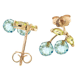 Blue Topaz and Peridot Cherry Drop Stud Earrings 2.9ctw in 9ct Gold