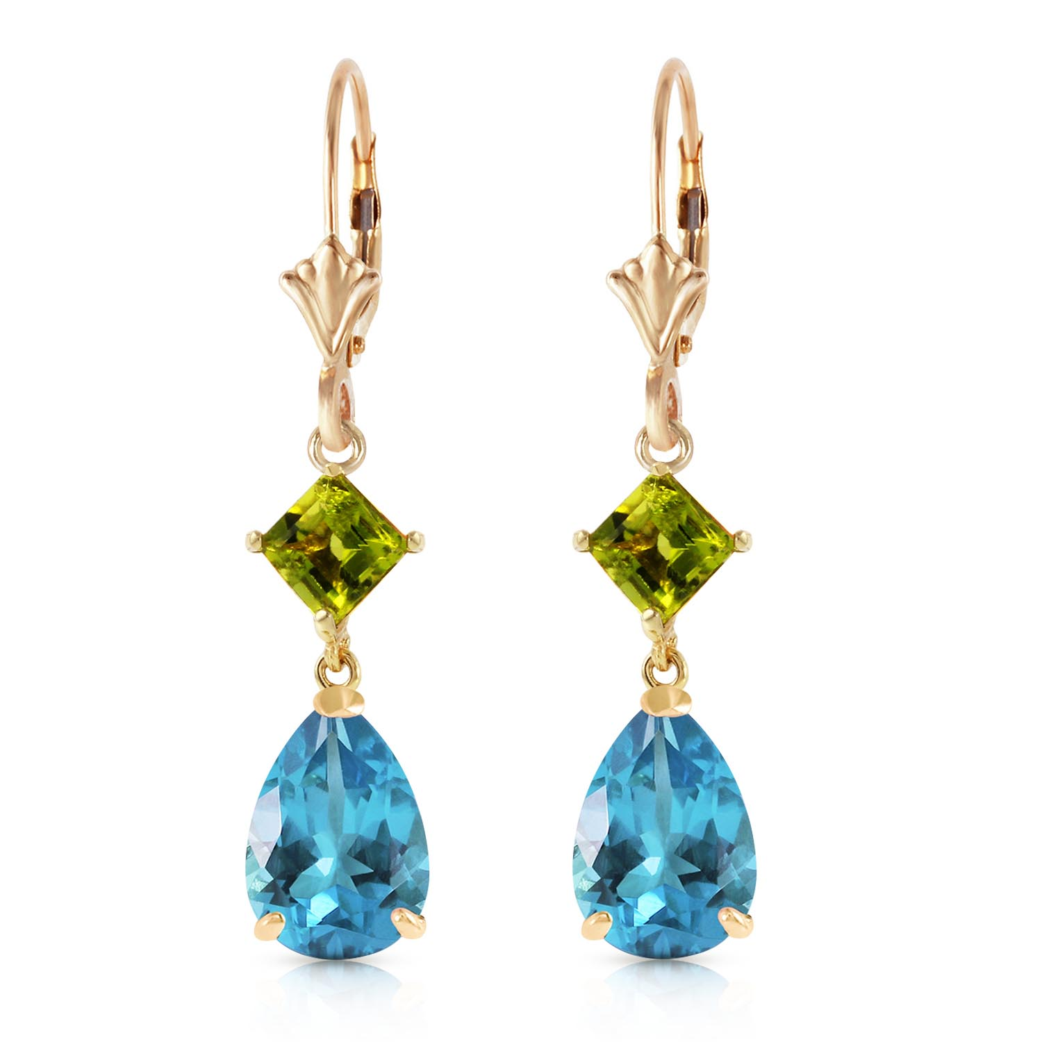 Blue Topaz and Peridot Droplet Earrings 4.5ctw in 9ct Gold
