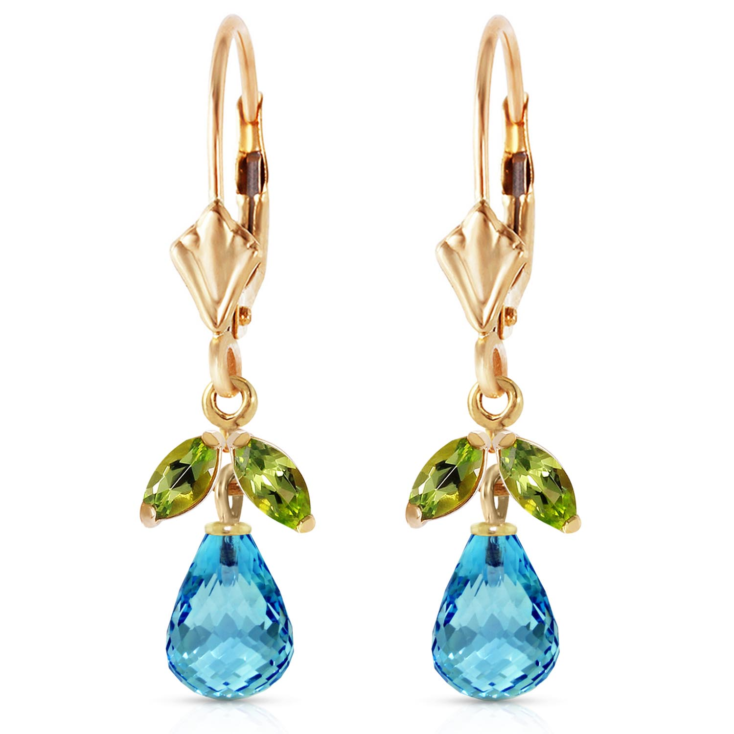 Blue Topaz and Peridot Snowdrop Earrings 3.4ctw in 9ct Gold