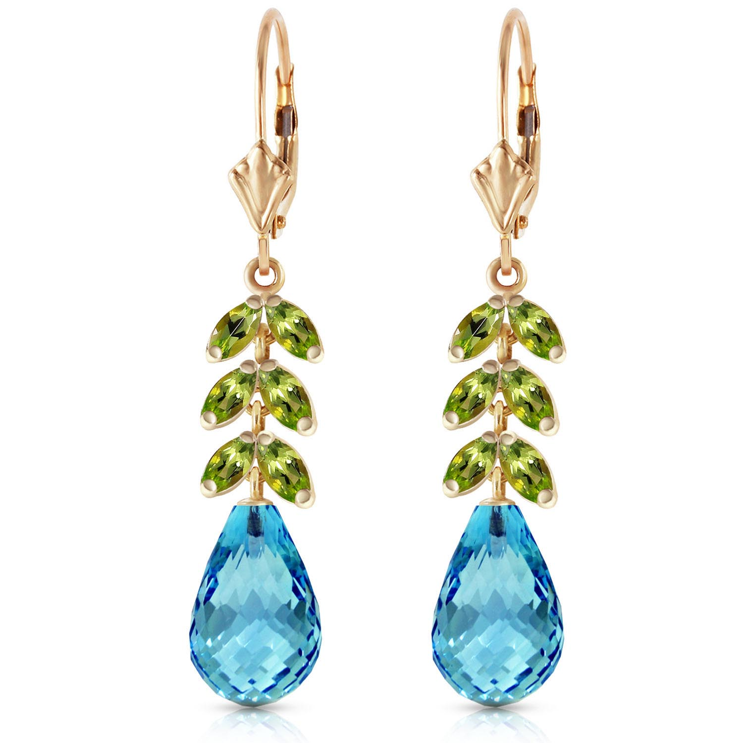 Blue Topaz and Peridot Drop Earrings 11.2ctw in 9ct Gold