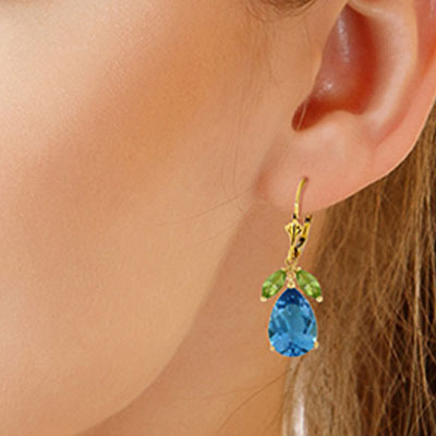 Blue Topaz and Peridot Drop Earrings 13.0ctw in 9ct Gold