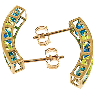 Blue Topaz and Peridot Channel Set Stud Earrings 4.5ctw in 9ct Gold