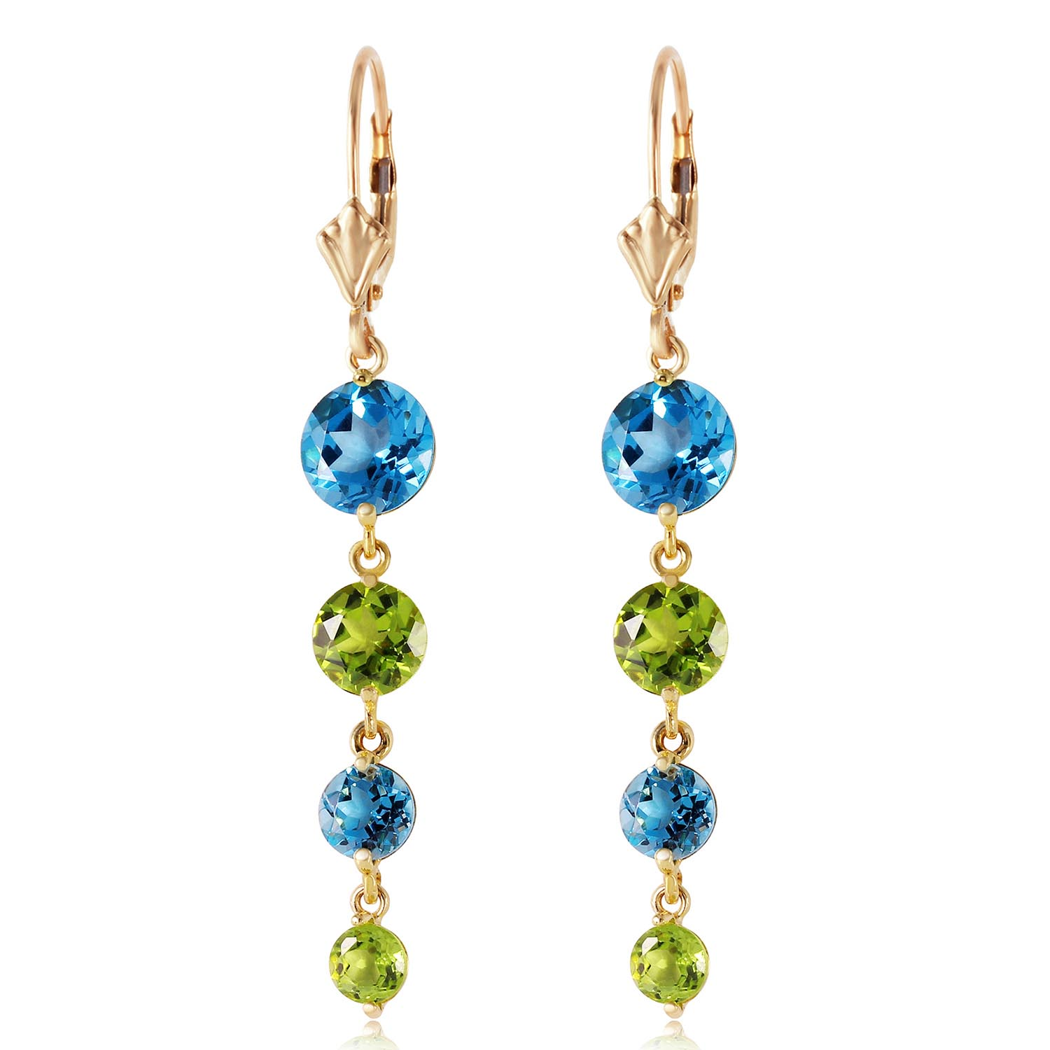 Blue Topaz and Peridot Quadruplo Drop Earrings 7.8ctw in 9ct Gold