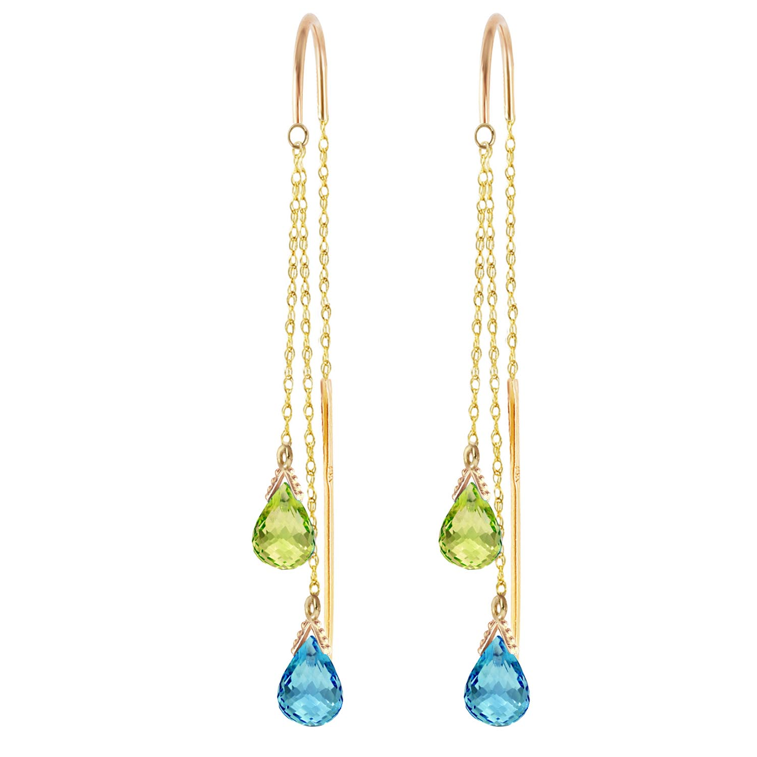 Blue Topaz and Peridot Scintilla Earrings 2.5ctw in 9ct Gold